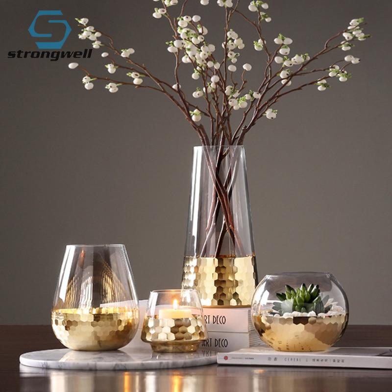 20.99US $ 35% OFF Strongwell Nordic Gold Foil Art Vase Modern Craft Garden Hydroponics Glass Flower ...