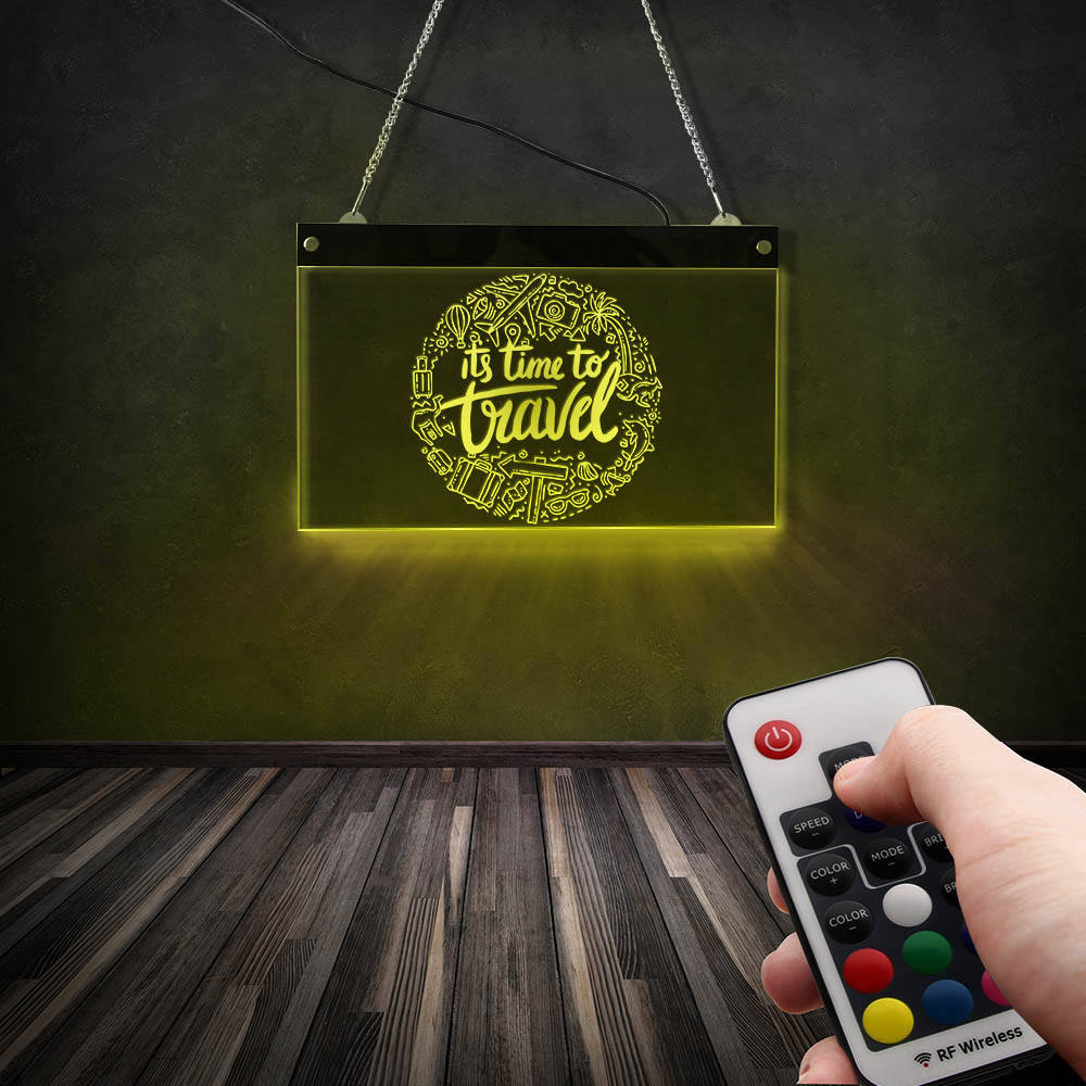 It's Time To Travel Adventure LED Wall Hanging Neon Sign Vacation Holiday Trips With Family and Friends Travel Souvenir Gift|LED Indoor Wall Lamps| |  - title=