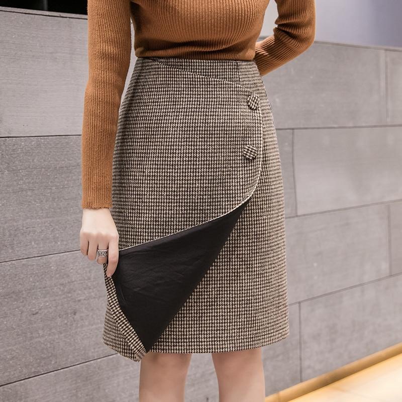 Rétro Femme taille haute asymétrie laine Midi Jupe 2019 nouveau hiver Plaid jupes porte-feuille femmes Vintage mode Jupe Longue Femme