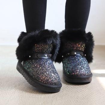 Botas de invierno ULKNN para niñas, zapatos para niñas, botas para niños, zapatos cálidos de felpa a la moda para actividades al aire libre, Bota Infantil antideslizante