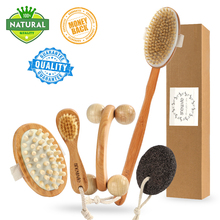5pcs/set Massage Brush Natural Boar Bristles Body Brush Scrubber Wooden Long Handle Spa Shower Back Brush Bath Massage Brushes vehhe body brush spa banya massage scrubber bathroom accessory long handle shower brush bath skin massage brushes exfoliate