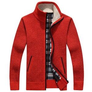 Image 5 - 2020 Autumn Winter Mens Sweater Coat Faux Fur Wool Sweater Jackets Men Zipper Knitted Thick Coat Warm Casual Knitwear Cardigan