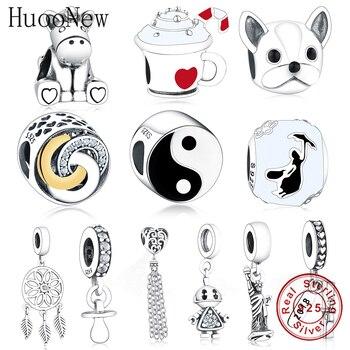 цена на HuooNew Fit Original Pandora Charm Bracelet 925 Sterling Silver Black & White Enamel Tai chi Yinyang Beads Making Berloque Gift
