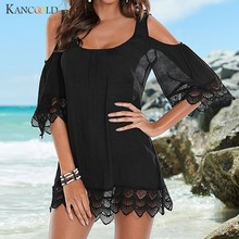 KANCOOLD Women's Cover-ups Sexy Beach Dress Mini Lace Tunic Swimsuit Solid Cover-up Swim Summer Bikinis Female Bathing Biquinis(China)