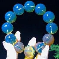 H120 Fine Jewelry Mexico Origin Nature Blue Amber Beads 20mm Bracelets Fine Hologram Female Bracelets
