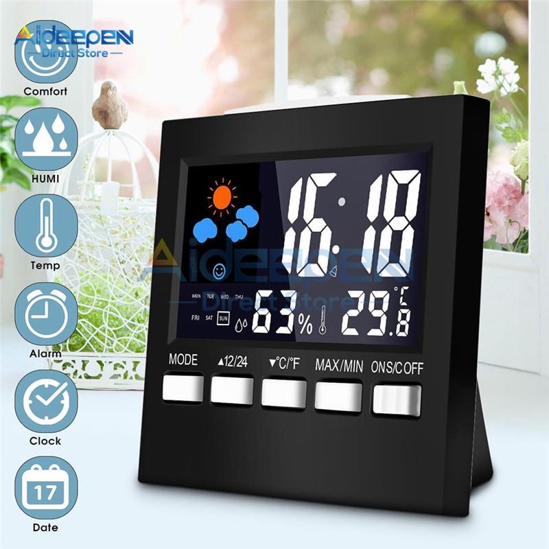 Multifunctional Alarm Clock LCD Digital Thermometer Hygrometer Temperature Humidity Meter Indoor Weather Station Alarm Clock