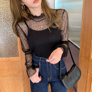 Sexy Hollow Out Mesh Lace Base Shirt Blouse Women Loose Long Sleeve Half Turtleneck Tops See Through