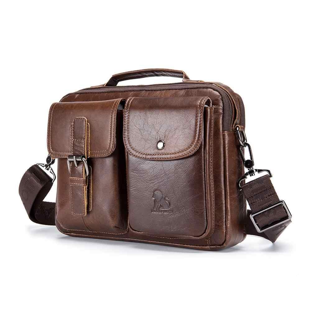 Mannen Echt Lederen Handtassen Casual Lederen Laptoptassen Mannelijke Reistas Messenger Bags Mannen Crossbody Schoudertas 2020