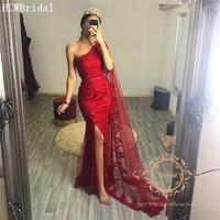 Arabic Evening Dress Long Ribbons One Shoulder Red Mermaid Beaded Lace Elegant Formal Dresses Long Robe De Soiree Customize