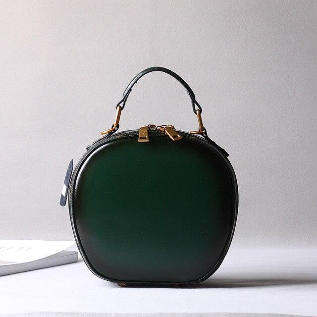 2019 новая кожаная сумка в стиле ретро, сумка через плечо, модная маленькая круглая сумка - 5