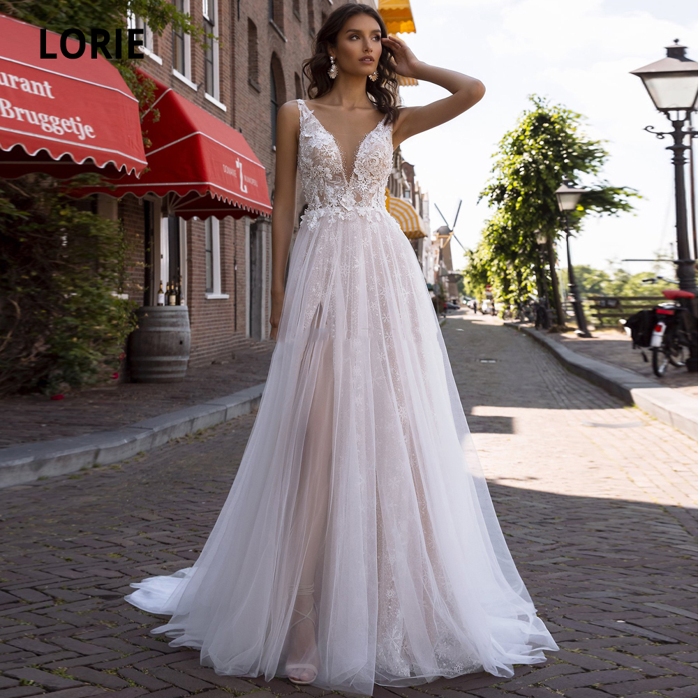 LORIE V-neck Sleeveless Tulle Wedding Dresses Lace Boho Appliques Pearls Crystal A-line Bridal Gowns Sweep Train Plus Size
