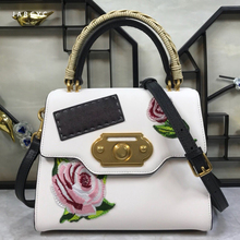 Summer Genuine Leather Women Handbag Satchel Bag Flower Painted Shoulder Bag Real Cow Leather Tote Luxury Famous Brand Designer briggs new 2018 vintage genuine leather women bag plaid natural cow leather shoulder bag famous brand women handbag casual tote