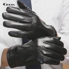 Мужские зимние перчатки gours черные из натуральной козьей кожи