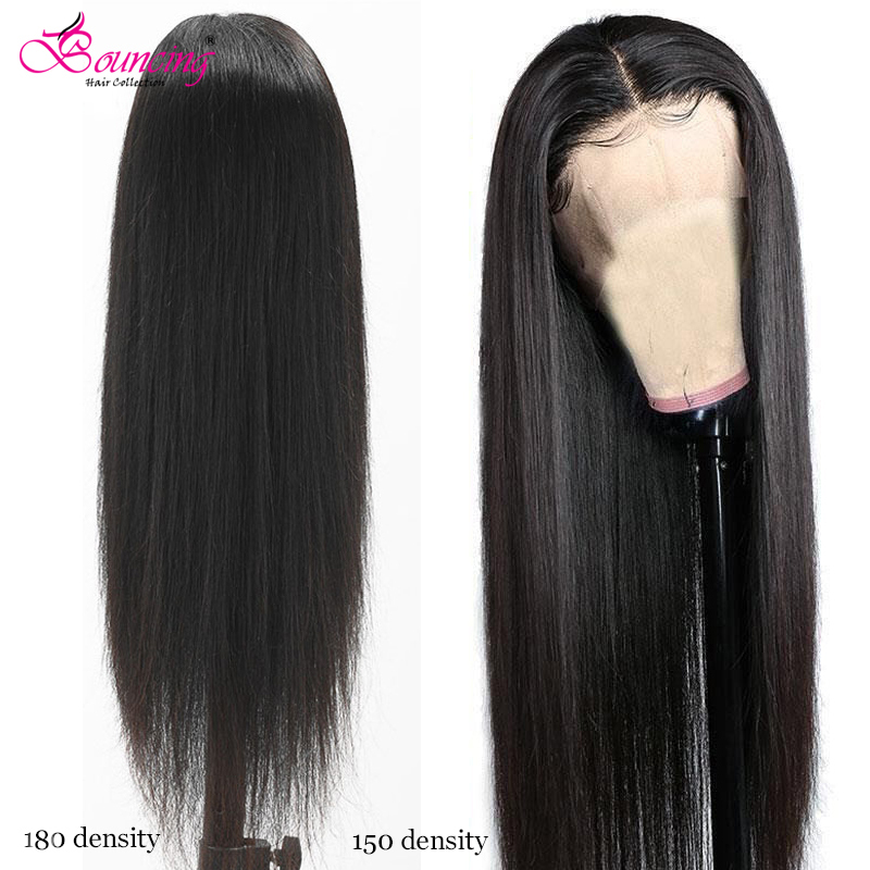 Bouncing Straight Human Hair Lace Frontal Wigs Brazilian 180% 150% Density 13x4 Lace Closure Wigs Pre-Plucked Hairline For Women