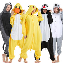 Volwassenen Polar Fleece Kigurumi Kleine Gele Eend Kostuum Animal Rompertjes Pyjama Halloween Carnaval Masquerade Party Jumpsuit(China)