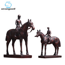 Strongwell European Knight Horse Statue Ancient Soldiers Terracotta Warriors Sculpture Hero Home Decoration Accessories Gift(China)