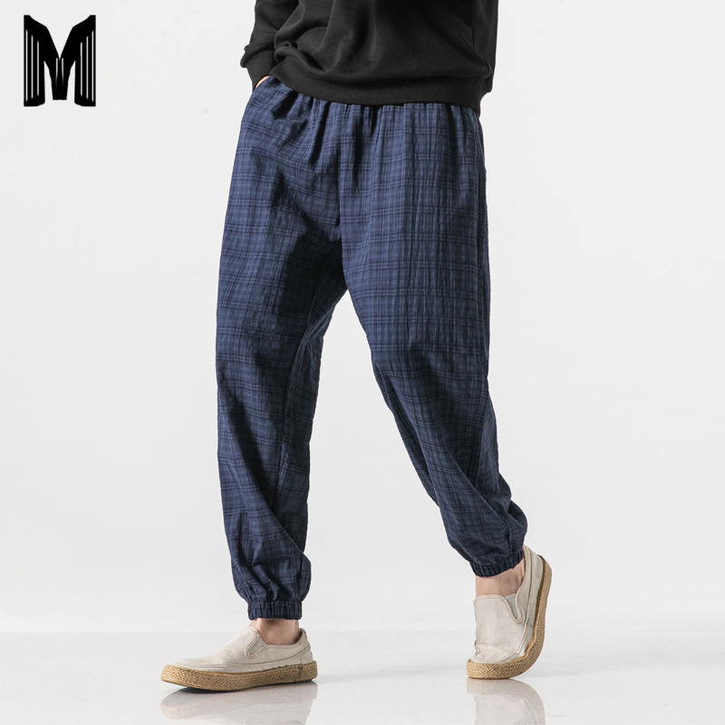 2019 Autumn New Casual Pants Men Cotton Linen Slim Fit Grid Fashion Trousers Male Brand Clothing Plus Size 5XL Y1864
