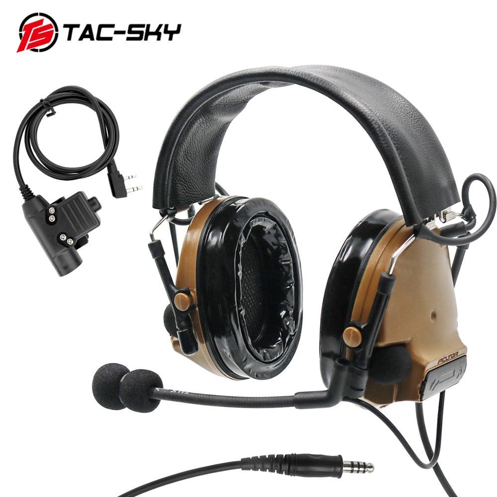 TAC-SKY Military Adapter KENWOOD U94 PTT + COMTAC III Silicone Earmuffs Noise Reduction Pickup Tactical Headset CB
