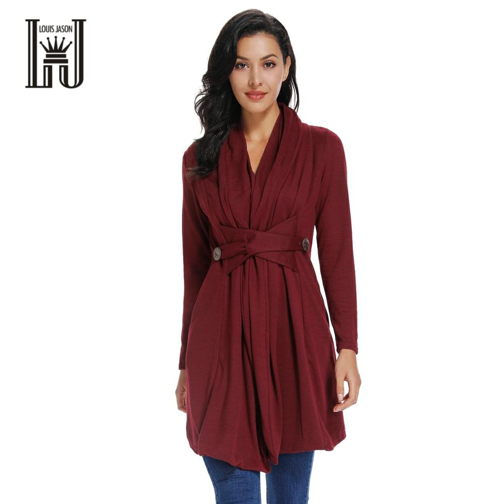 LOUIS JASON New Women's Casual Long Coat Autumn Winter Vintage Solid Waisted Button Decorate Long Coat And Dress Elegant Women
