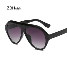 Retro Thick Frame Black Pilot Sunglasses Women Ladies Brand Designer Mirror Lens