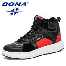 Bona 2020 новые дизайнерские высокие модные кожаные кроссовки