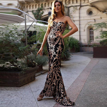 2020 New Sweetheart Evening Dress vestido de festa Sexy Backless Luxury Gold Sequin Formal Party Dress Prom Gowns Black Gilrs