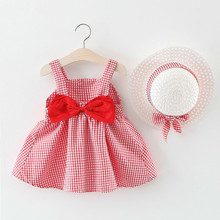 Baby Girls Dresses New Girl Dress with Hat Plaid Fashion Bow Casual A-line Kids Clothes 6M-24M 40
