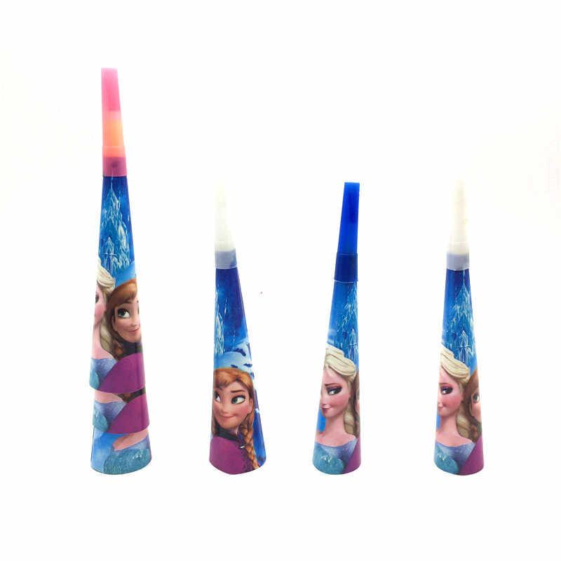 6 шт./лот замороженная тема дизайн труба шум производитель ребенок день рождения украшения принадлежности Принцесса Анна Эльза мультфильм рога игрушки