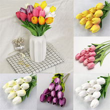 10pcs Tulip Artificial Flower Real Touch Bouquet Fake Bridal Home Decoration for Wedding Valentines Day