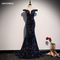 JANCEMBER prom dresses mermaid dresses woman party night sequin prom gown off shoulder حفلة موسيقية فساتين