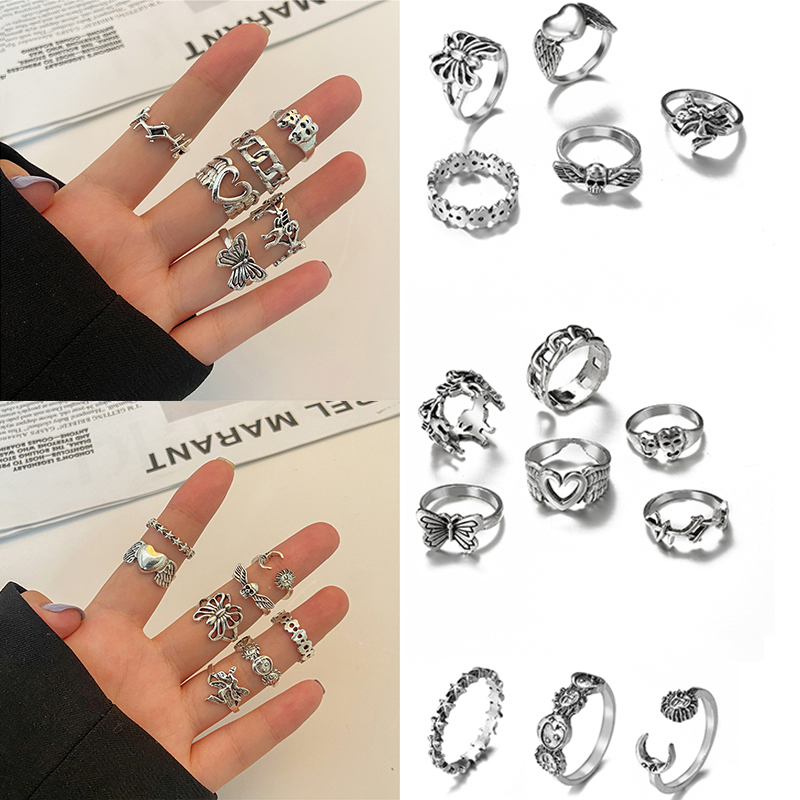 Vintage Silver Plated Angel Ring Set For Womens Gothic Punk Steampunk Butterfly Heart Moon Stars Skull Ring Sets Party Jewelry