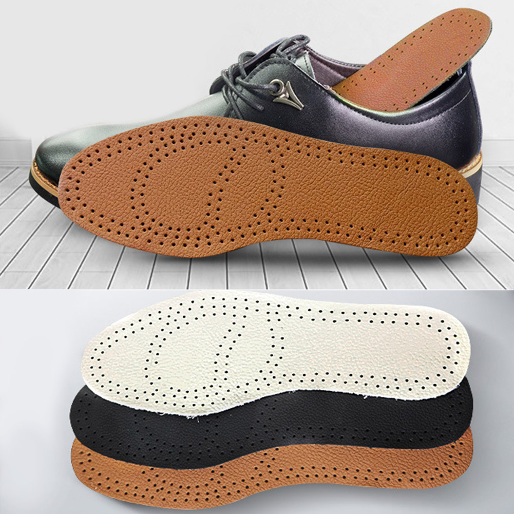 Ultra Thin Breathable Deodorant Leather Insoles Cowskin  Instantly Absorb Sweat Replacement Inner Soles Shoes Insole Pads