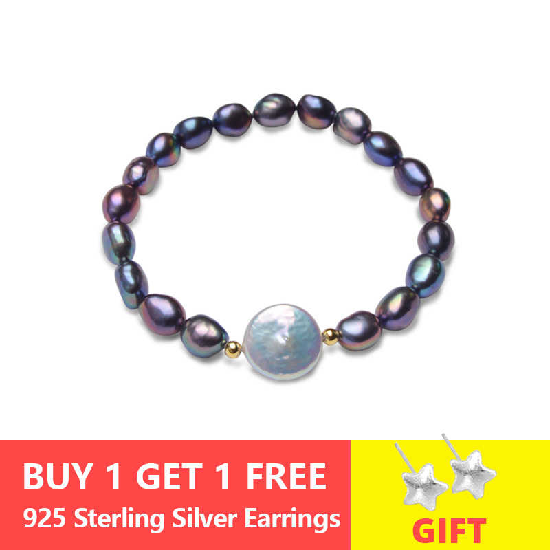 ASHIQI Genuine Black Natural Freshwater Pearl Bracelets for women 12-13mm Big Button Baroque Pearl Jewelry