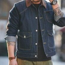 Casaco de camionista de denim vintage 13.5oz masculino com multi bolso