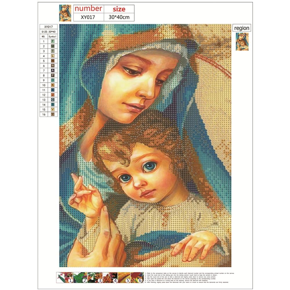 Круглая кристальная Алмазная 5D алмазная картина религиозная девственница и Иисус DIY Алмазная Вышивка Набор для украшения дома