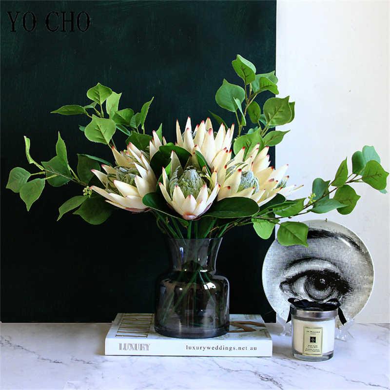 YO CHO-fleurs artificielles en soie pour roi | Bricolage d'arrangement de fausses fleurs empereur, décoration blanche de Table pour fête maison mariage
