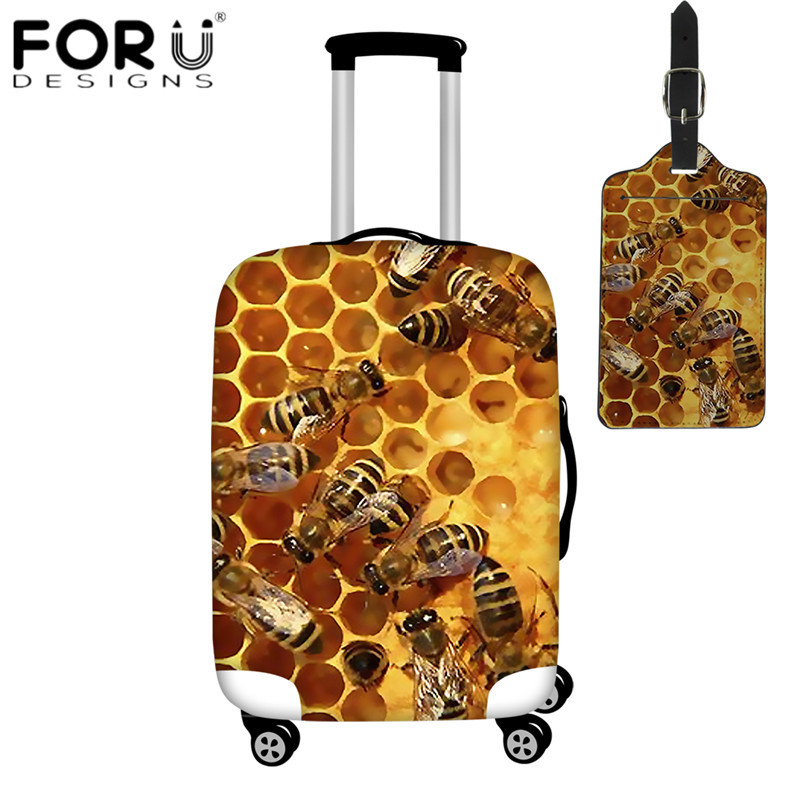 FORUDESIGNS 3D Animal Bee Print Luggage Cover Dust Rain Cover For 18-32 Inch Case Suitcase Protective Covers Travel Accessories