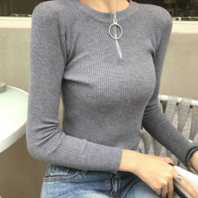 Half-zipper Pullover knitted bottomed sweater with high elasticity in autumn  Elasticity Pullovers