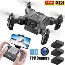 Novo mini drone v2 4k 1080p hd câmera wifi fpv pressão de ar altitude hold dobrável quadcopter rc zangão brinquedo do miúdo presente