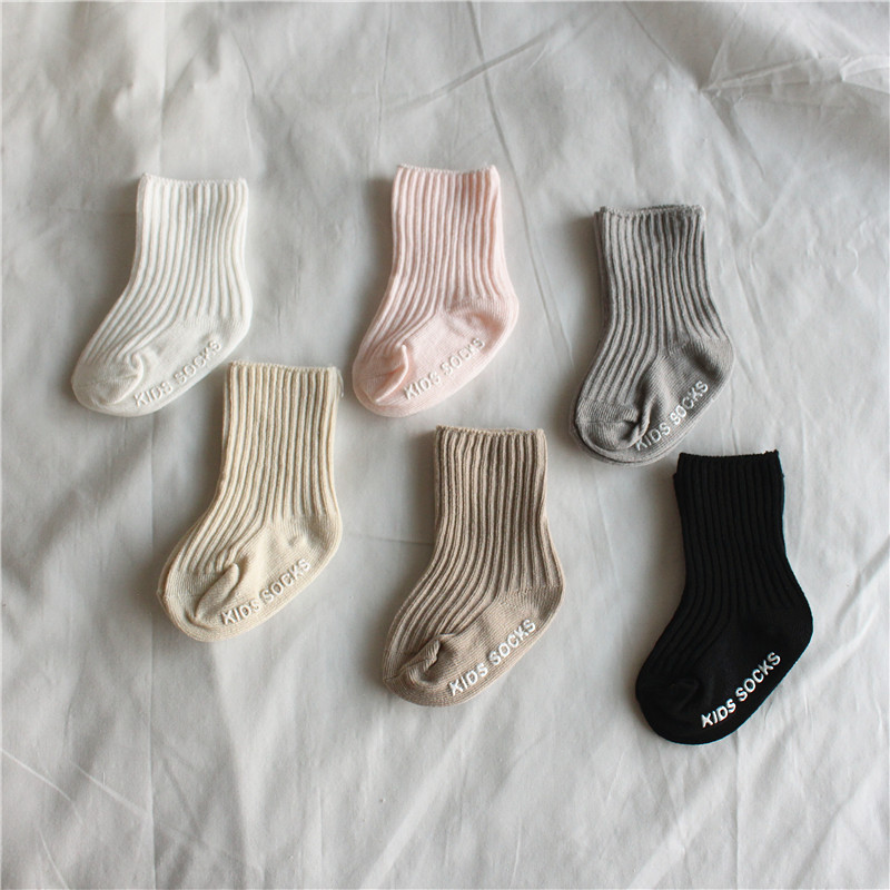 2020 Spring Ribbed Baby Socks High Quality New Knit Soft Newborn Toddler Infant Kids Girls Boys Non Slip Socks 0~4 Year Fashion