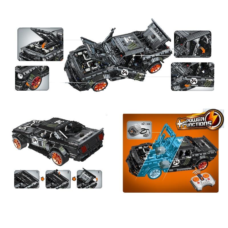 Ford Mustang Hoonicorn RTR V2 Racing Car with power function led light legoinges Technic MOC-22970 building block bricks Kids 5