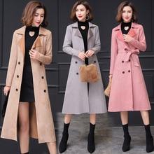 2019 Autumn Women Trench Coats Casual Suede Overcoat Female's Long Coat Plus siz
