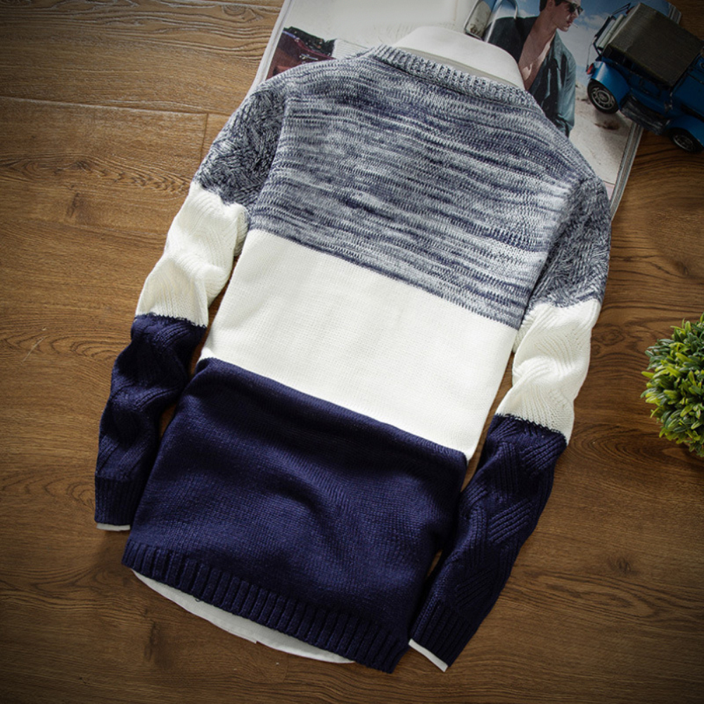 Winter Men O Neck Long Sleeve Color Block Patchwork Knitted Pullover Sweater Men's pattern patchwork round neck Sweater 5