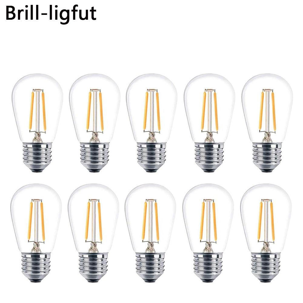10 pcs lote 2 w 4 s14 lampadas led branco quente 2700 k e27 led filamento