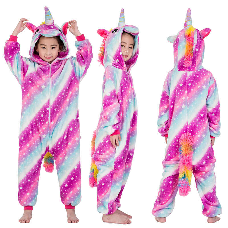 Bambini Caldo Pigiama Per Bambini Pigiama Unicorn Arcobaleno Delle Ragazze Pigiama Kigurumi Adulto Per 4 6 8 10 12 Anni di Usura di Notte
