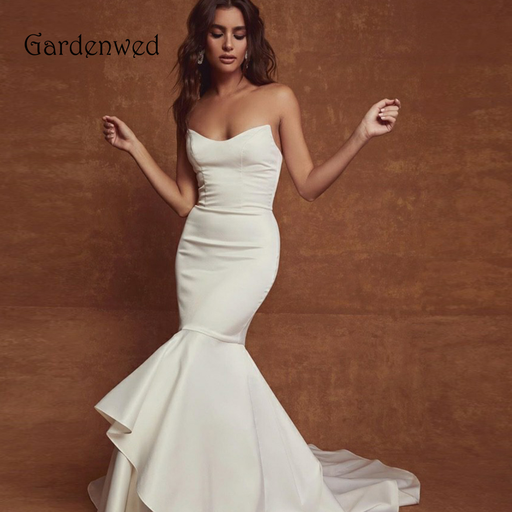 Simple Mermaid Wedding Dress 2020 Silk Satin Bride Dress Off Shoulder Fish Tail Zipper Up Back Bride Gowns