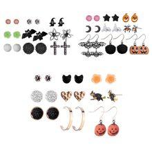 Halloween Stud Earrings Retro Classic Bat Spider Styling Earring Alloy Rhinestone Fashion Women Earing Set