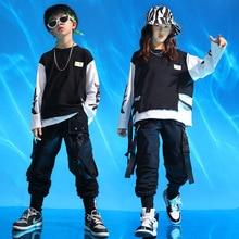Children Performance Clothing Sweatshirt Pant Set for Boys Girls Stage Show Clothes Kids Hip Hop Jazz Drums Street Dance Costume