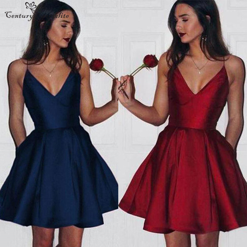 Short   Cocktail     Dresses   Party Gowns 2019 With Pockets Spaghetti Straps Open Back Satin Mini Prom   Dresses   Graduation Gowns Cheap