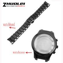Für AR1452 AR1451 Keramik armband und fall 22mm 24mm Hohe Qualität Schwarz männer Keramik Strap Armband stahl schwarz deployment band armband